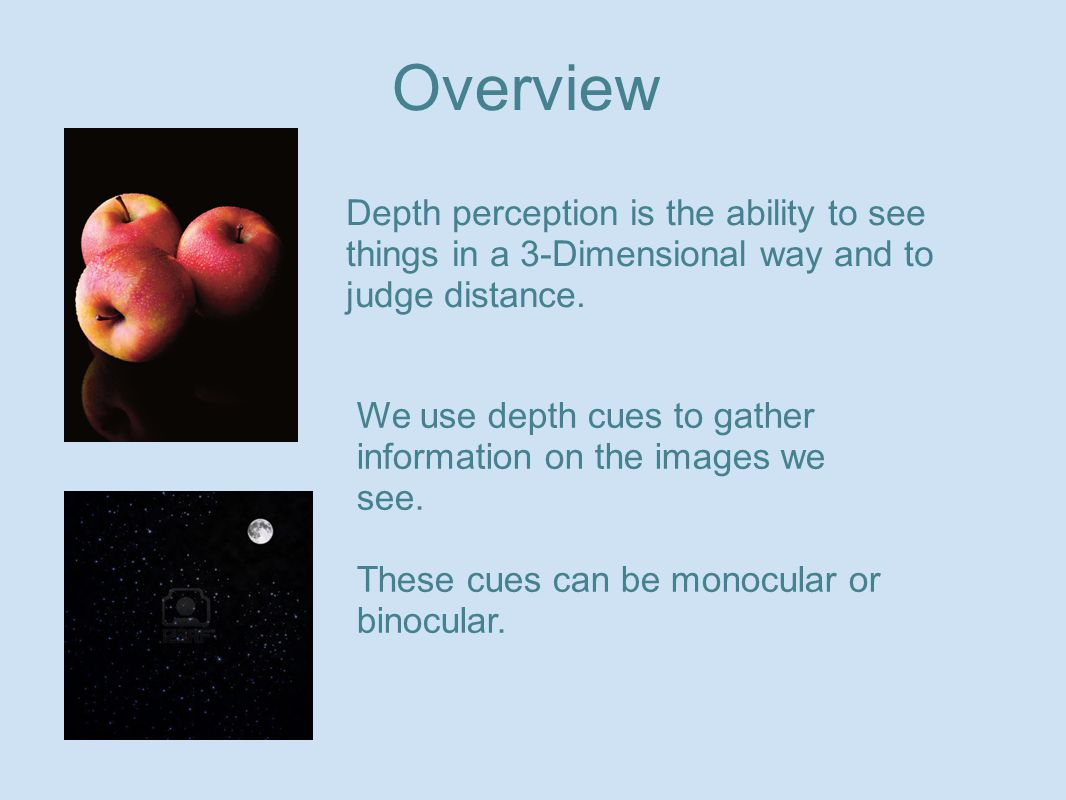 Depth perception is the ability to see things in a 3-Dimensional way and to judge distance. We use depth cues to gather information on the images we s
