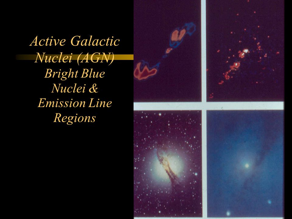 Active Galactic Nuclei (AGN) Bright Blue Nuclei & Emission Line Regions