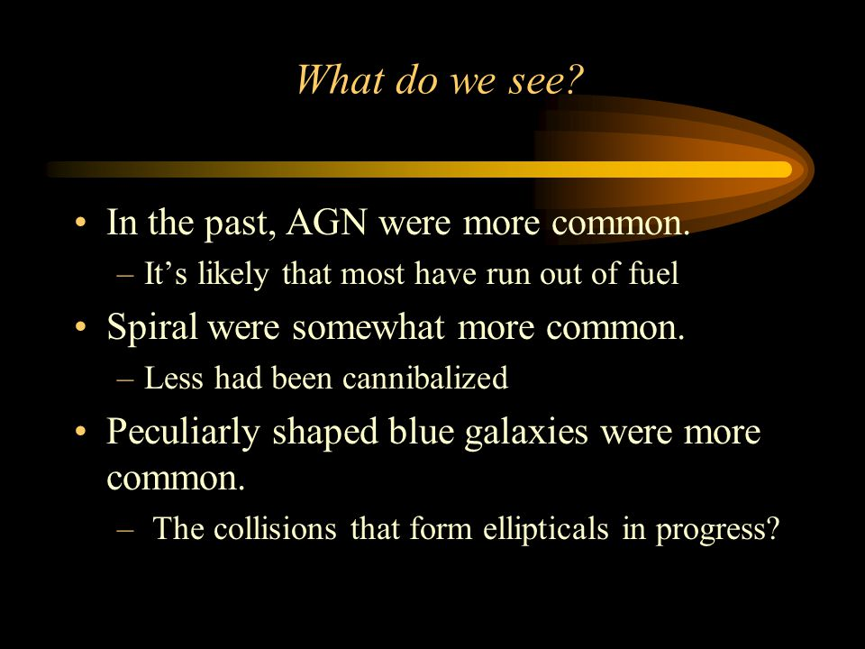 What do we see. In the past, AGN were more common.