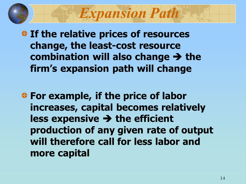 14 Expansion Path If the relative prices of resources change, the least-cost resource combination will also change  the firm's expansion path will change For example, if the price of labor increases, capital becomes relatively less expensive  the efficient production of any given rate of output will therefore call for less labor and more capital