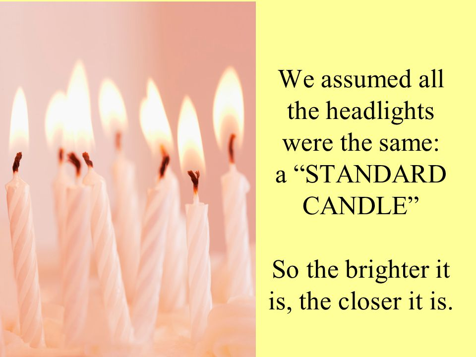 "We assumed all the headlights were the same: a ""STANDARD CANDLE"" So the brighter it is, the closer it is."