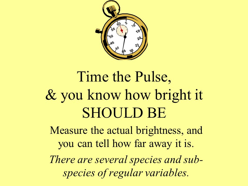 Time the Pulse, & you know how bright it SHOULD BE Measure the actual brightness, and you can tell how far away it is.