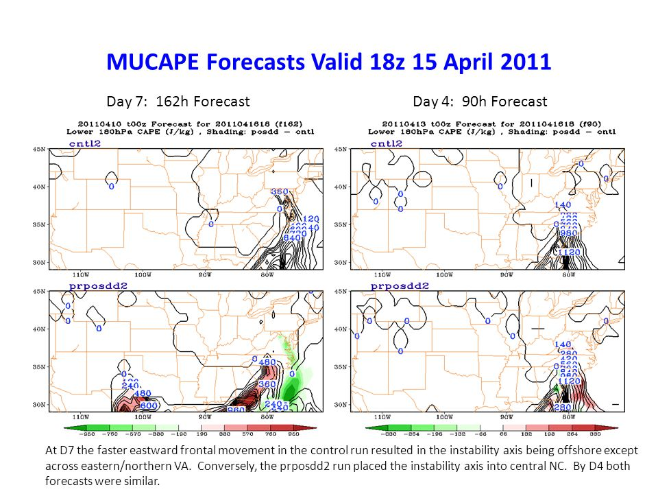 MUCAPE Forecasts Valid 18z 15 April 2011 Day 7: 162h ForecastDay 4: 90h Forecast At D7 the faster eastward frontal movement in the control run resulted in the instability axis being offshore except across eastern/northern VA.