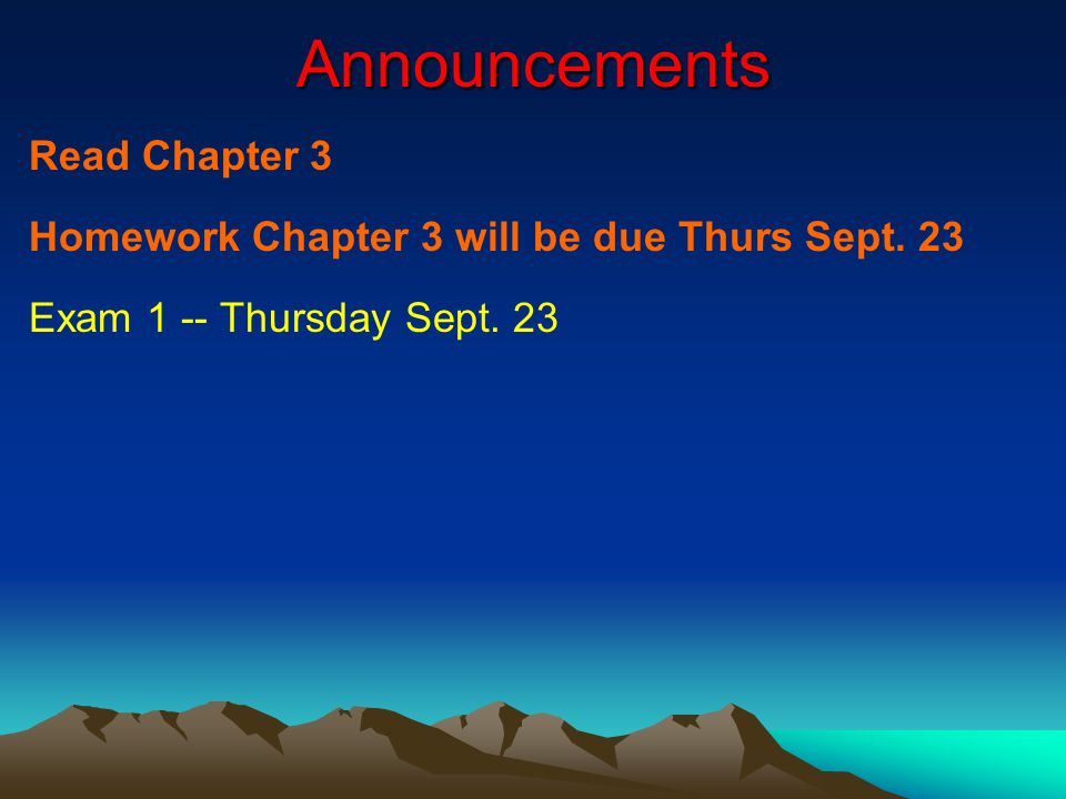 Announcements Read Chapter 3 Homework Chapter 3 will be due Thurs Sept.