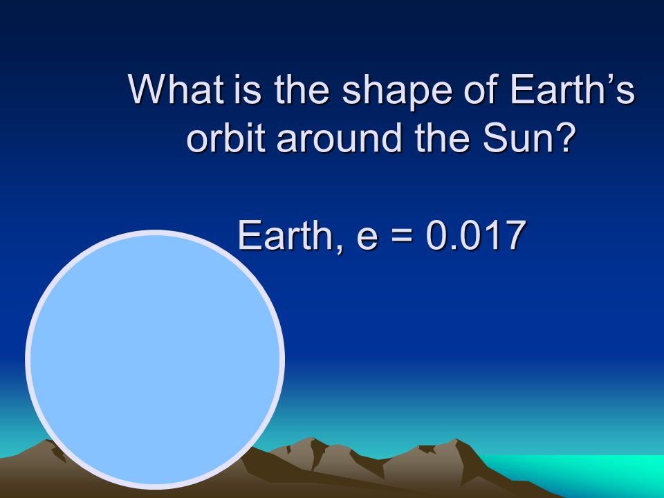 What is the shape of Earth's orbit around the Sun Earth, e = 0.017