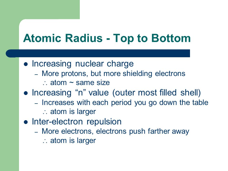 Atomic Radius - Top to Bottom Increasing nuclear charge – More protons, but more shielding electrons  atom ~ same size Increasing n value (outer most filled shell) – Increases with each period you go down the table  atom is larger Inter-electron repulsion – More electrons, electrons push farther away  atom is larger