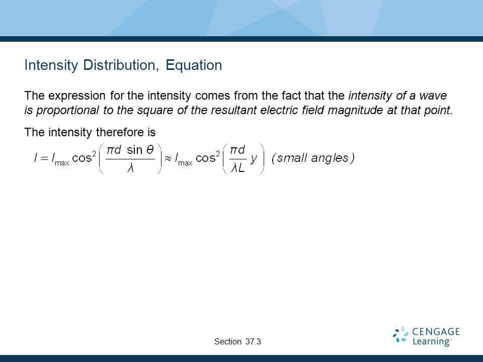 Intensity Distribution, Equation The expression for the intensity comes from the fact that the intensity of a wave is proportional to the square of th