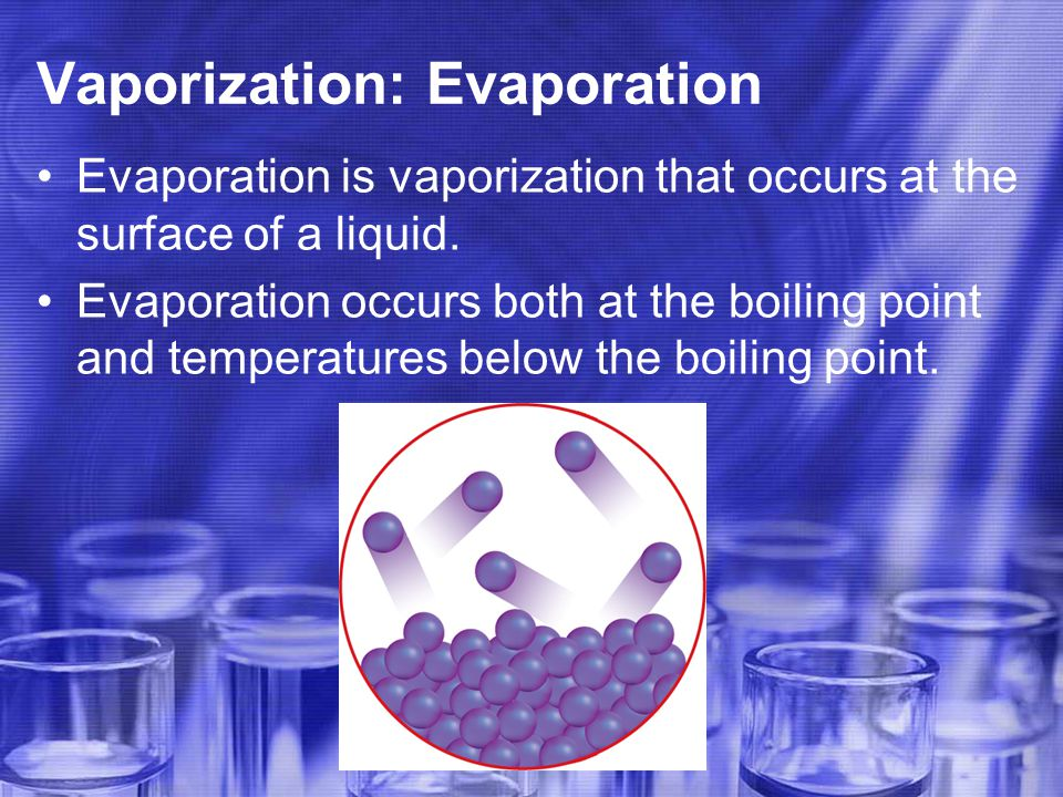 Vaporization: Evaporation Evaporation is vaporization that occurs at the surface of a liquid.