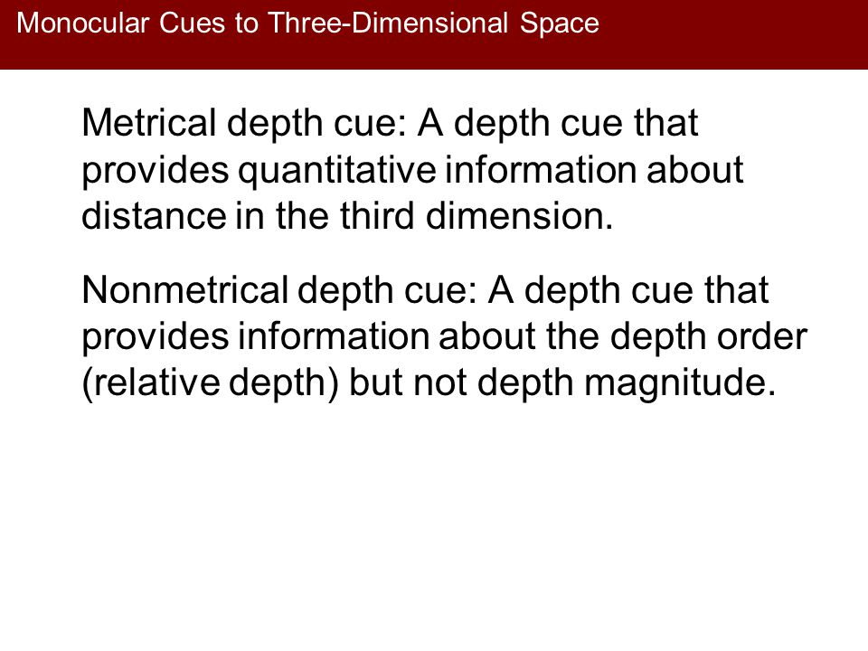 Monocular Cues to Three-Dimensional Space Metrical depth cue: A depth cue that provides quantitative information about distance in the third dimension