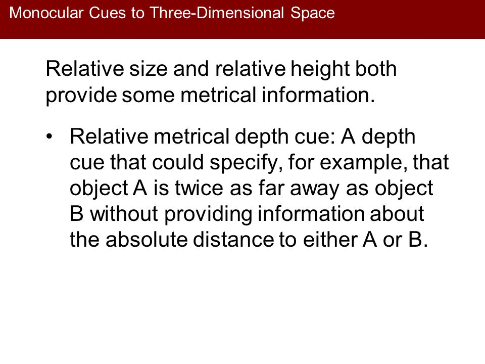 Monocular Cues to Three-Dimensional Space Relative size and relative height both provide some metrical information. Relative metrical depth cue: A dep
