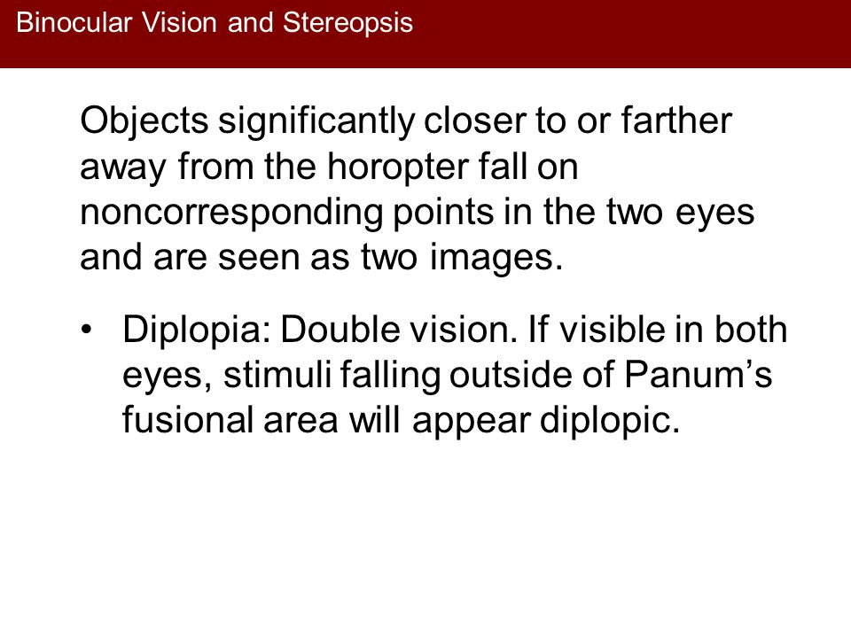Binocular Vision and Stereopsis Objects significantly closer to or farther away from the horopter fall on noncorresponding points in the two eyes and