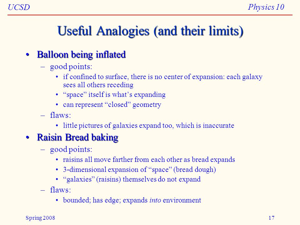 UCSD Physics 10 Spring 200817 Useful Analogies (and their limits) Balloon being inflatedBalloon being inflated –good points: if confined to surface, there is no center of expansion: each galaxy sees all others receding space itself is what's expanding can represent closed geometry –flaws: little pictures of galaxies expand too, which is inaccurate Raisin Bread bakingRaisin Bread baking –good points: raisins all move farther from each other as bread expands 3-dimensional expansion of space (bread dough) galaxies (raisins) themselves do not expand –flaws: bounded; has edge; expands into environment