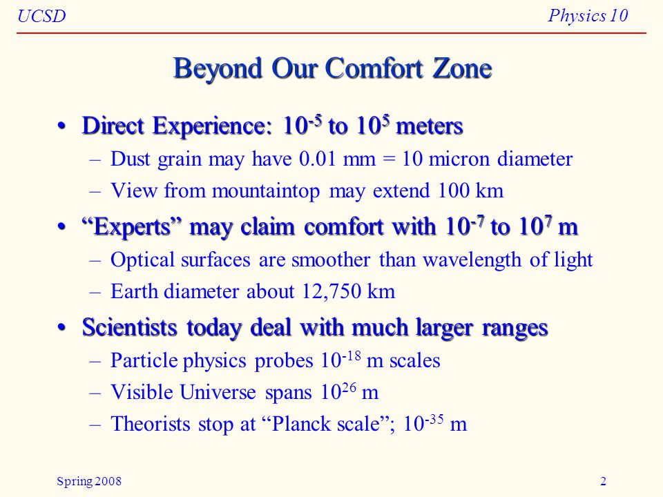 UCSD Physics 10 Spring 20082 Beyond Our Comfort Zone Direct Experience: 10 -5 to 10 5 metersDirect Experience: 10 -5 to 10 5 meters –Dust grain may have 0.01 mm = 10 micron diameter –View from mountaintop may extend 100 km Experts may claim comfort with 10 -7 to 10 7 m Experts may claim comfort with 10 -7 to 10 7 m –Optical surfaces are smoother than wavelength of light –Earth diameter about 12,750 km Scientists today deal with much larger rangesScientists today deal with much larger ranges –Particle physics probes 10 -18 m scales –Visible Universe spans 10 26 m –Theorists stop at Planck scale ; 10 -35 m