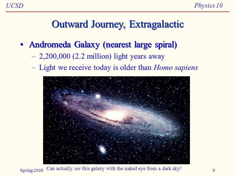 UCSD Physics 10 Spring 20089 Outward Journey, Extragalactic Andromeda Galaxy (nearest large spiral)Andromeda Galaxy (nearest large spiral) –2,200,000 (2.2 million) light years away –Light we receive today is older than Homo sapiens Can actually see this galaxy with the naked eye from a dark sky!