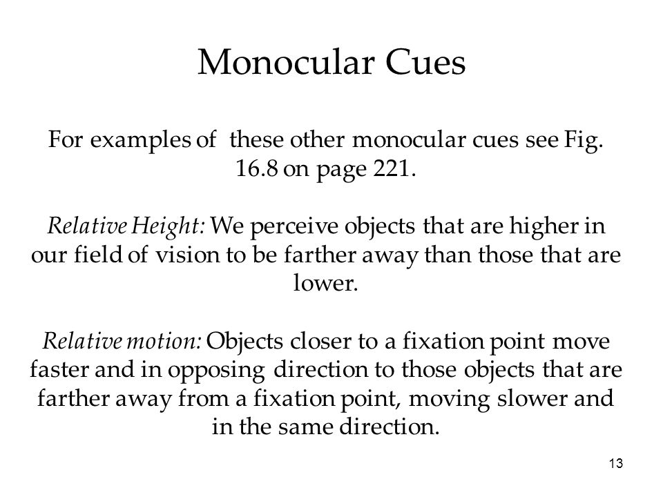 13 Monocular Cues For examples of these other monocular cues see Fig.