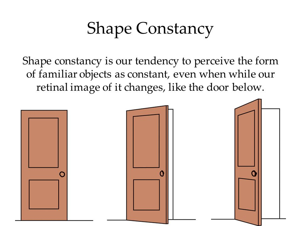 Shape constancy is our tendency to perceive the form of familiar objects as constant, even when while our retinal image of it changes, like the door below.
