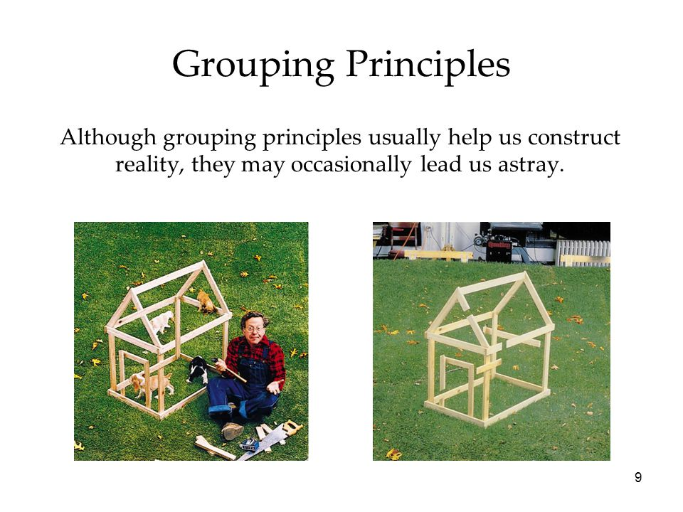 9 Grouping Principles Although grouping principles usually help us construct reality, they may occasionally lead us astray.