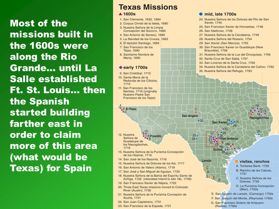 Most of the missions built in the 1600s were along the Rio Grande… until La Salle established Ft. St. Louis… then the Spanish started building farther