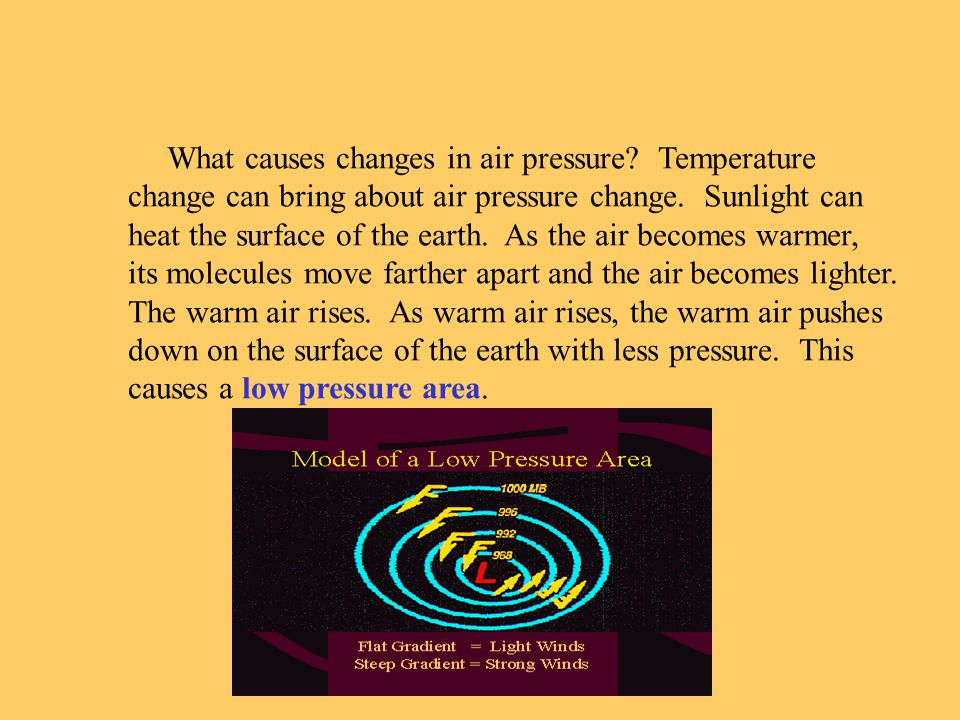 What causes changes in air pressure. Temperature change can bring about air pressure change.