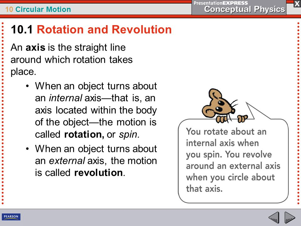 10 Circular Motion An axis is the straight line around which rotation takes place. When an object turns about an internal axis—that is, an axis locate