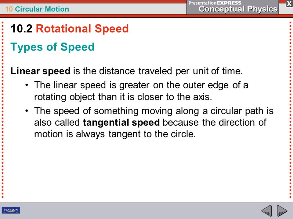 10 Circular Motion Types of Speed Linear speed is the distance traveled per unit of time.