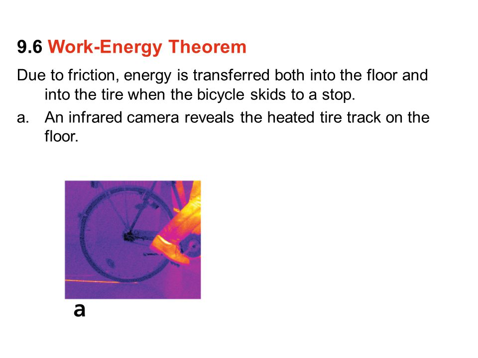 Due to friction, energy is transferred both into the floor and into the tire when the bicycle skids to a stop.