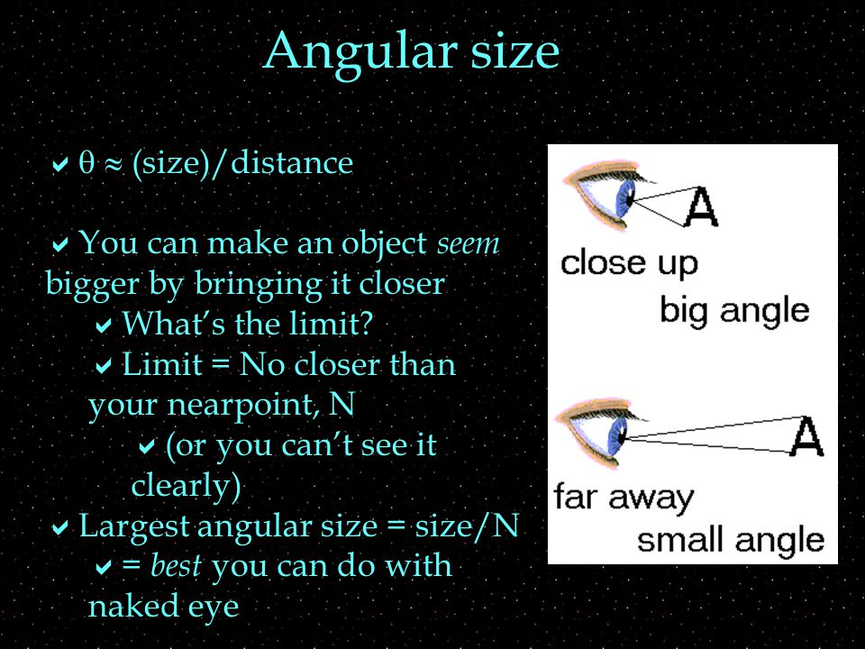    (size)/distance  You can make an object seem bigger by bringing it closer  What's the limit.
