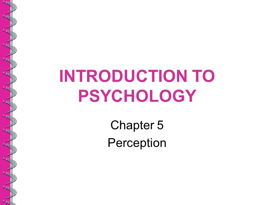 INTRODUCTION TO PSYCHOLOGY Chapter 5 Perception