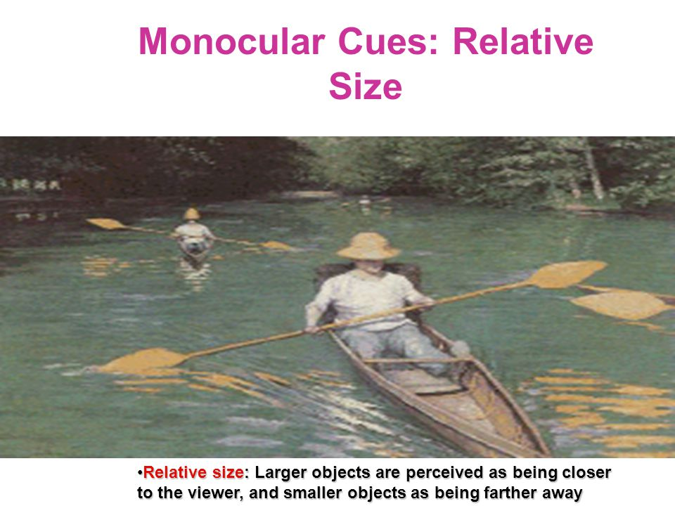 Monocular Cues: Relative Size Relative size: Larger objects are perceived as being closer to the viewer, and smaller objects as being farther awayRela