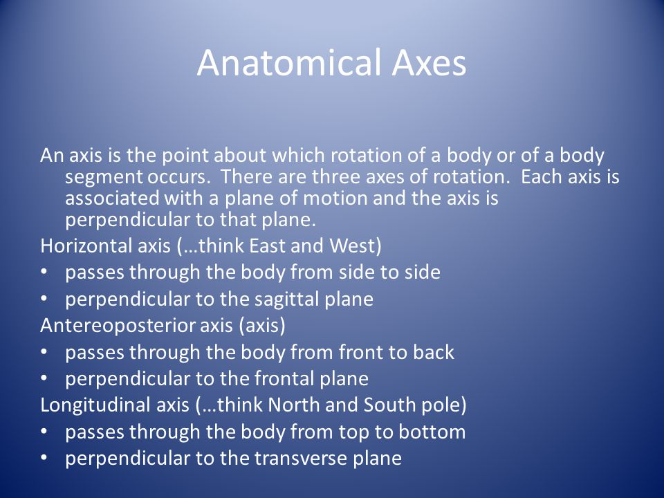 Anatomical Axes An axis is the point about which rotation of a body or of a body segment occurs. There are three axes of rotation. Each axis is associ