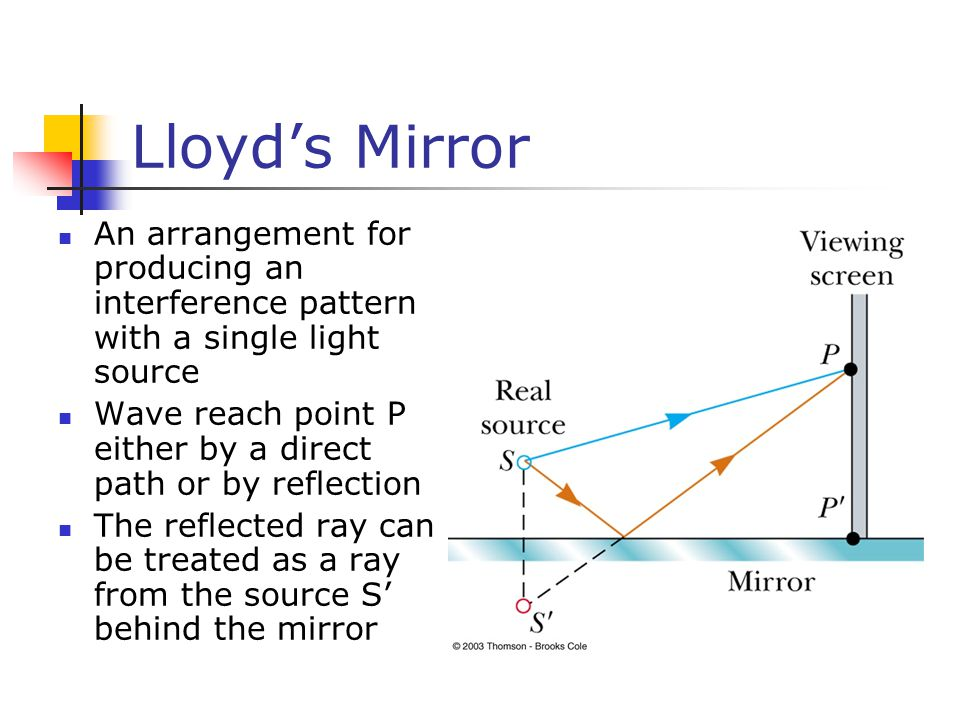 Lloyd's Mirror An arrangement for producing an interference pattern with a single light source Wave reach point P either by a direct path or by reflec