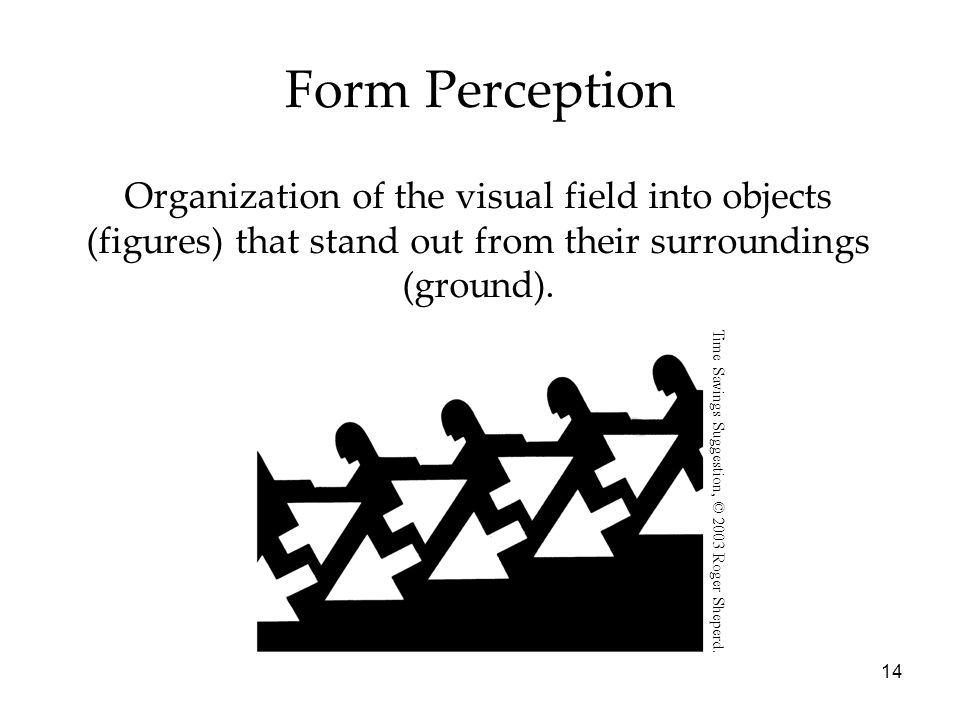 14 Organization of the visual field into objects (figures) that stand out from their surroundings (ground).