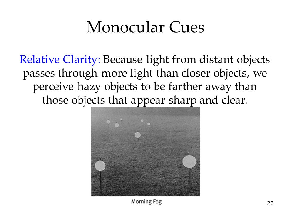 23 Monocular Cues Relative Clarity: Because light from distant objects passes through more light than closer objects, we perceive hazy objects to be farther away than those objects that appear sharp and clear.