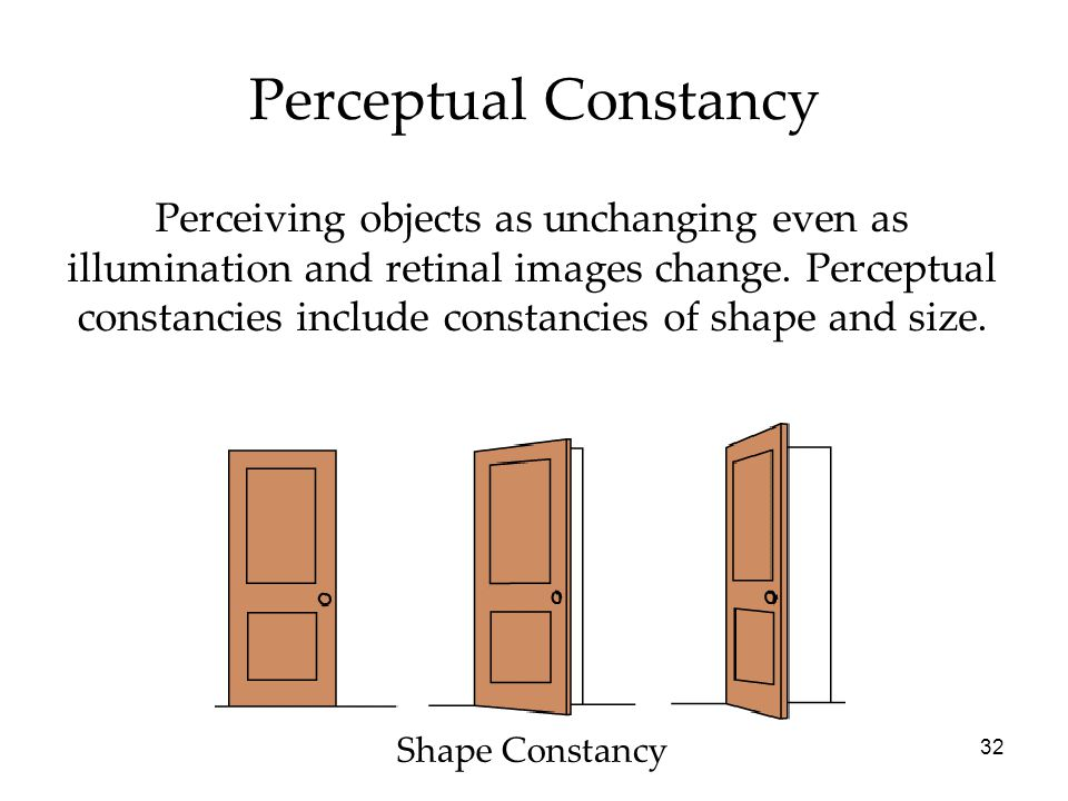 32 Perceptual Constancy Perceiving objects as unchanging even as illumination and retinal images change.