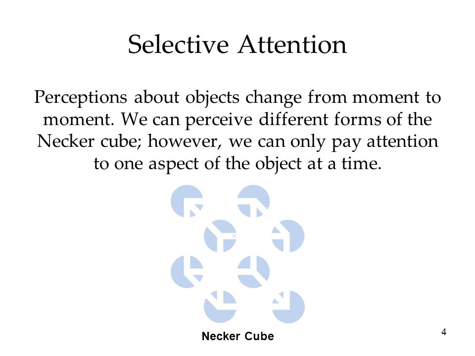 4 Selective Attention Perceptions about objects change from moment to moment.
