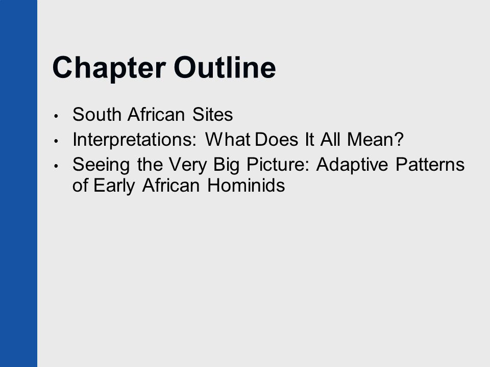 Chapter Outline South African Sites Interpretations: What Does It All Mean? Seeing the Very Big Picture: Adaptive Patterns of Early African Hominids