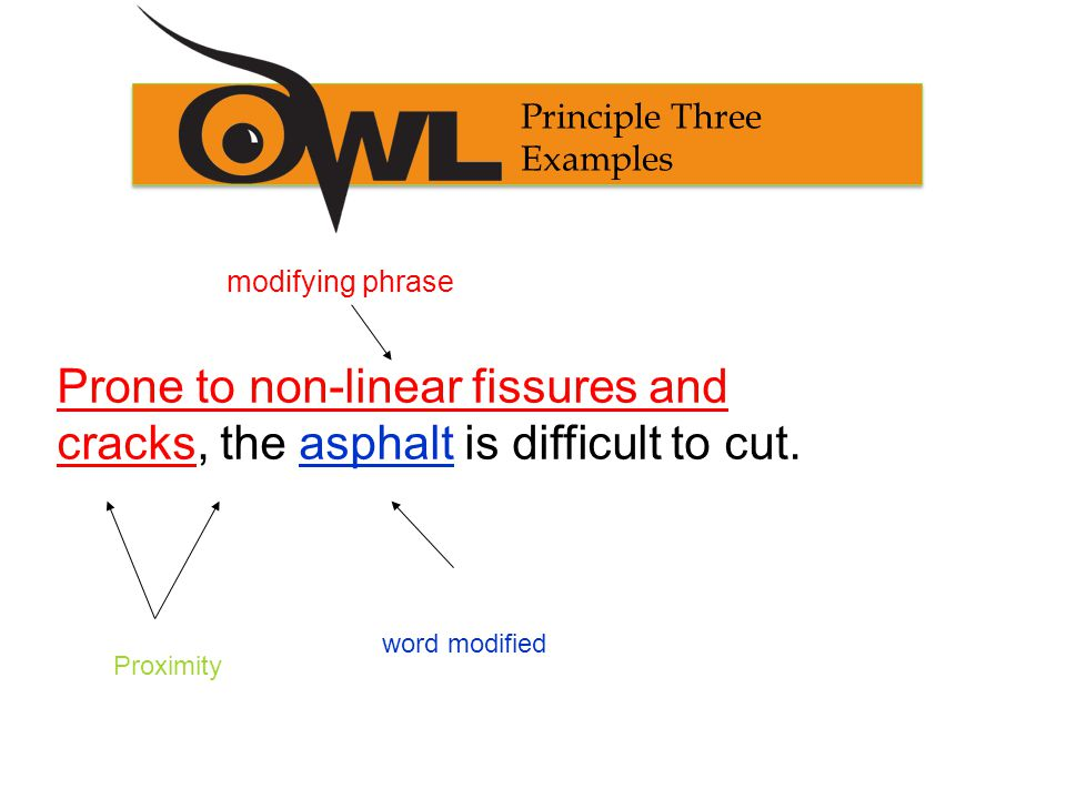 Principle Three Non- Example Prone to non-linear fissures and cracks, it was difficult to cut the asphalt.