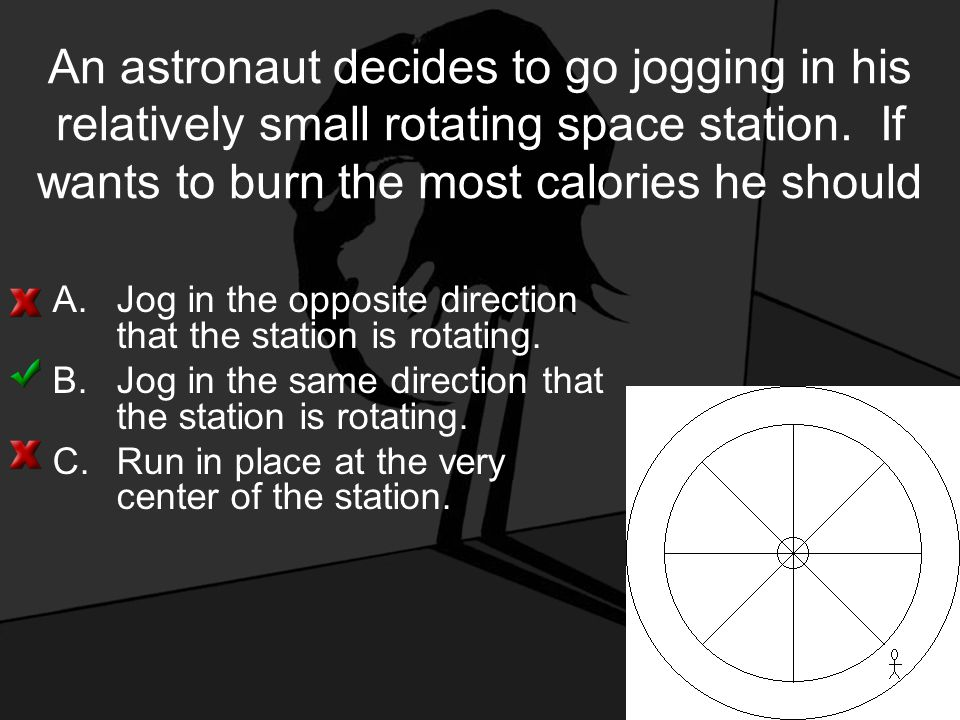 An astronaut decides to go jogging in his relatively small rotating space station.