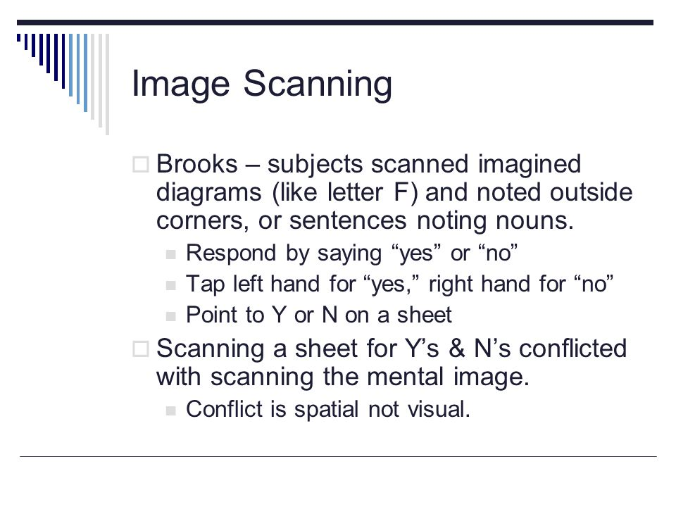 Image Scanning  Brooks – subjects scanned imagined diagrams (like letter F) and noted outside corners, or sentences noting nouns.