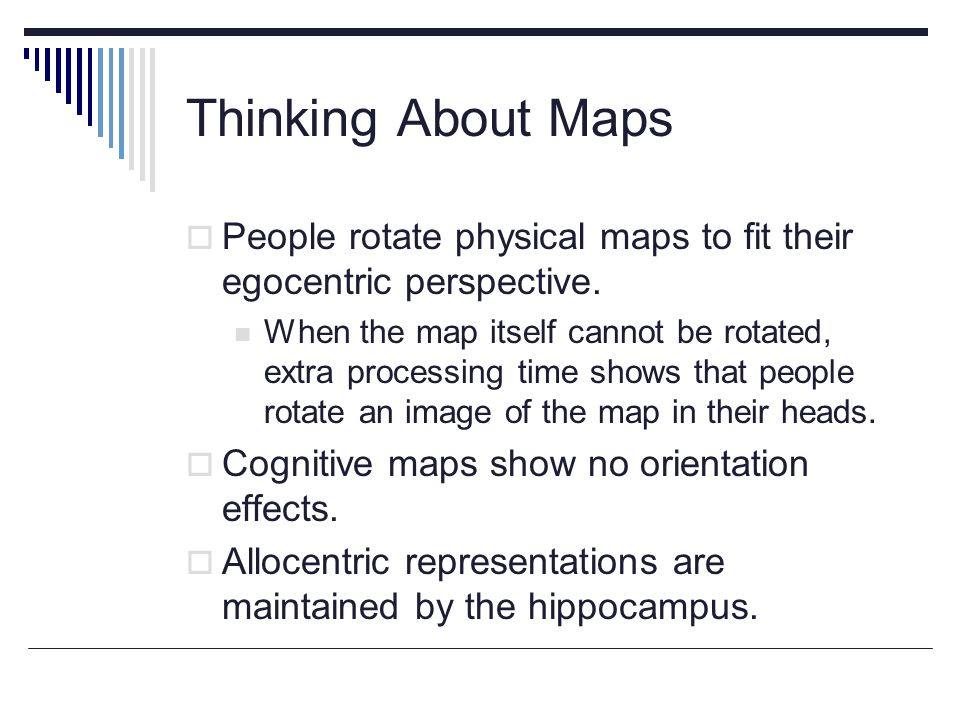 Thinking About Maps  People rotate physical maps to fit their egocentric perspective.
