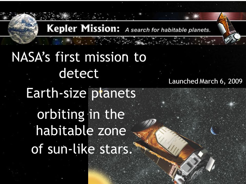 A Search for Habitable Planets 32 Kepler would be searching an area about the size of Connecticut.