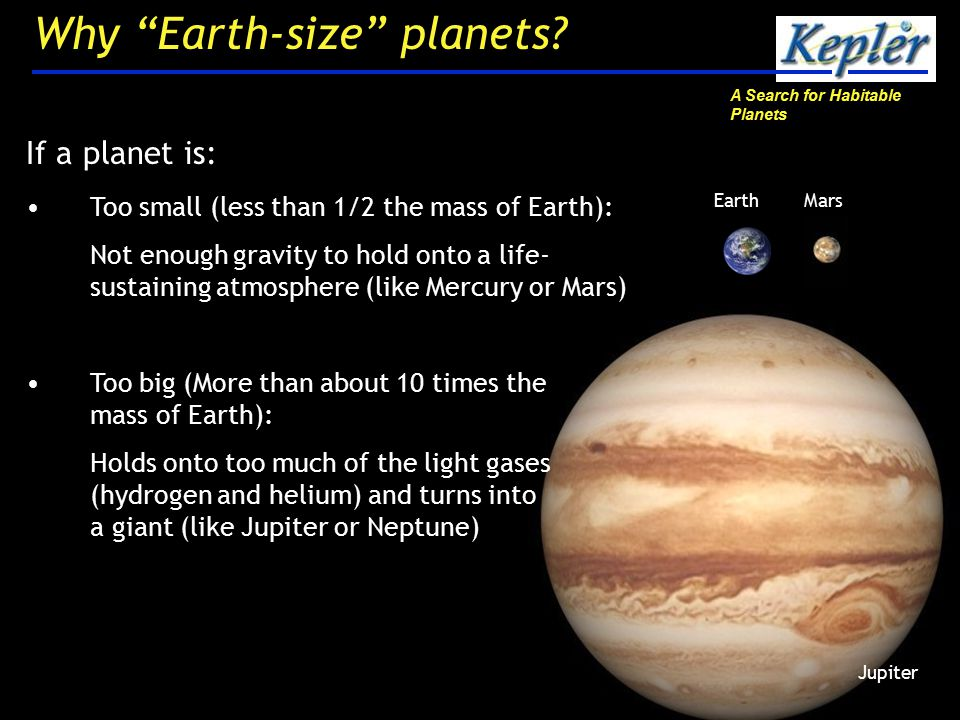 A Search for Habitable Planets 20 Why Earth-size planets.