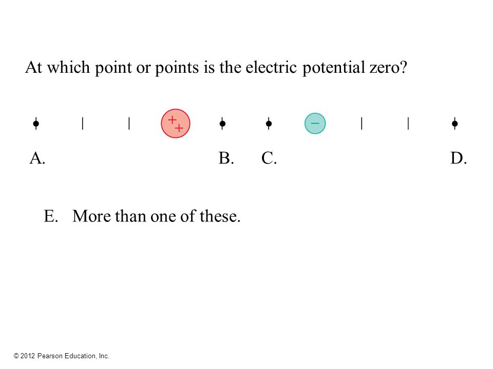 © 2012 Pearson Education, Inc. At which point or points is the electric potential zero? A.B.C.D. E. More than one of these.