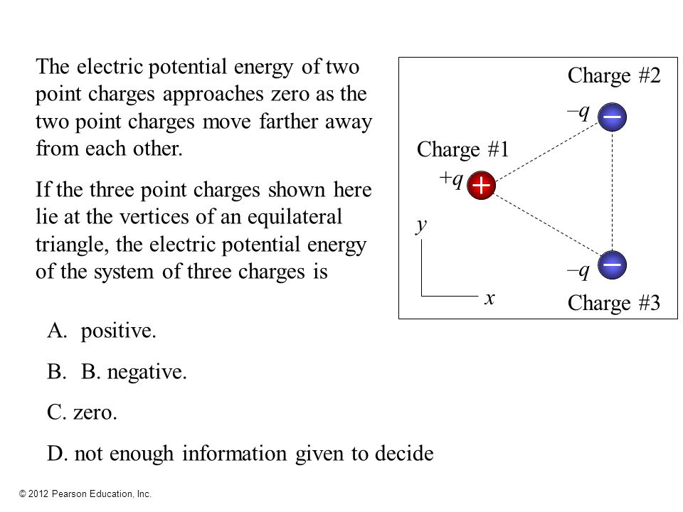 © 2012 Pearson Education, Inc. A.positive. B.B. negative. C. zero. D. not enough information given to decide The electric potential energy of two poin