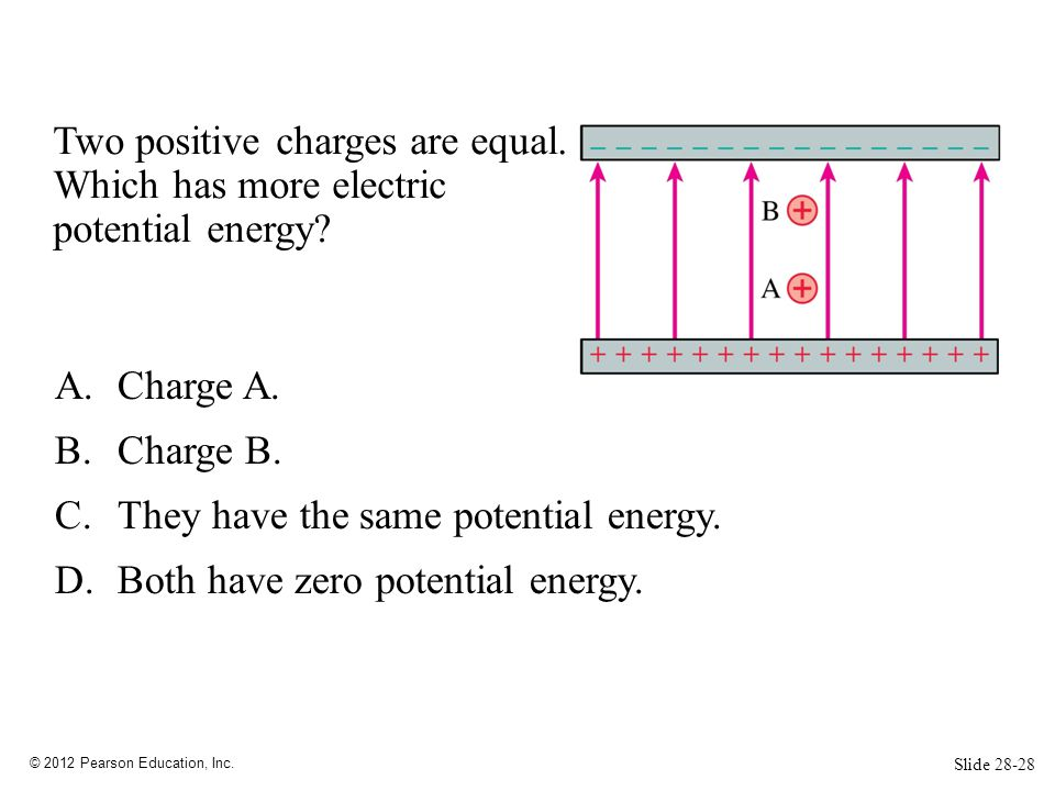 © 2012 Pearson Education, Inc. Two positive charges are equal. Which has more electric potential energy? A.Charge A. B.Charge B. C.They have the same