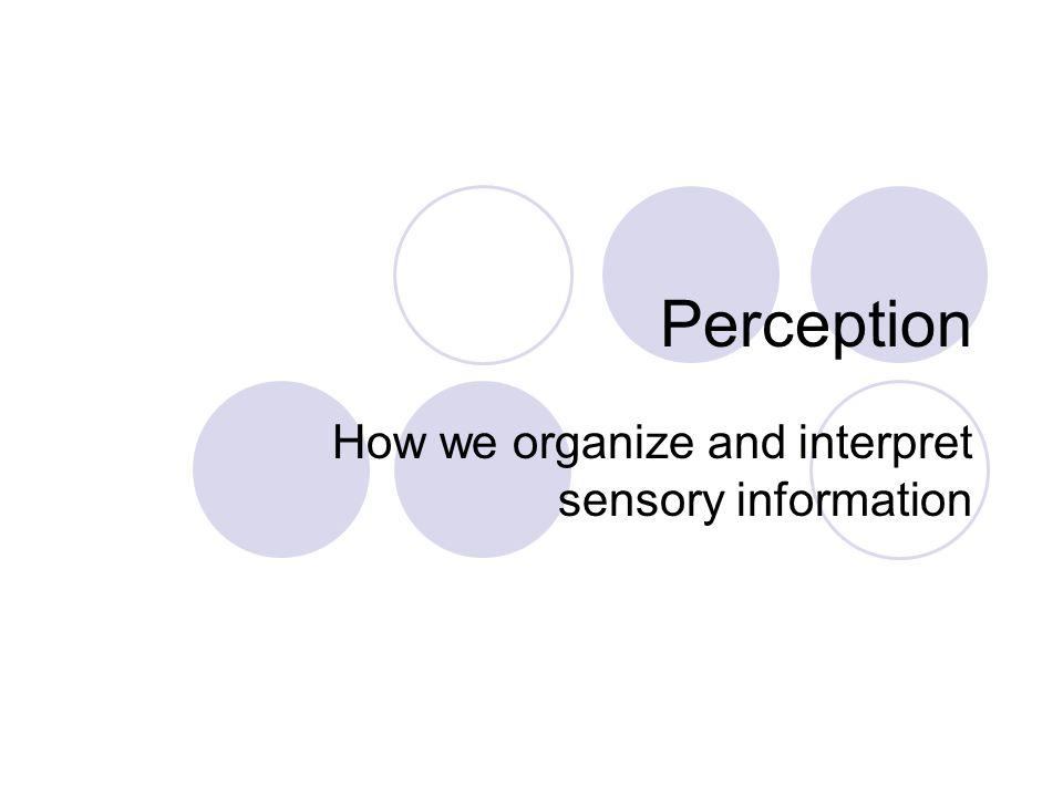 Perception How we organize and interpret sensory information