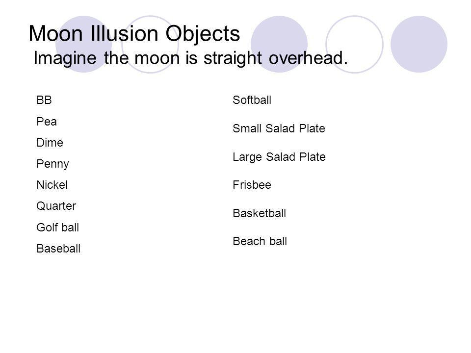 Moon Illusion Objects Imagine the moon is straight overhead.