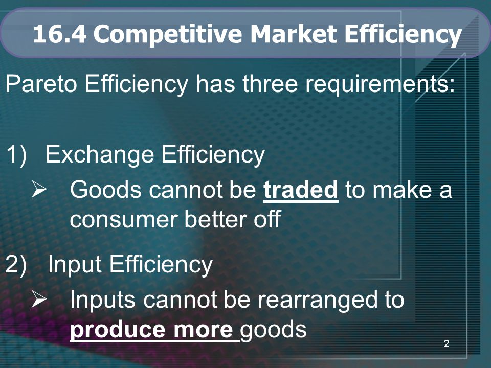 2 16.4 Competitive Market Efficiency Pareto Efficiency has three requirements: 1)Exchange Efficiency  Goods cannot be traded to make a consumer better off 2) Input Efficiency  Inputs cannot be rearranged to produce more goods