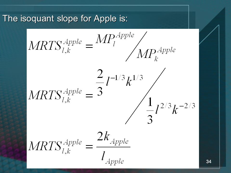 34 The isoquant slope for Apple is: