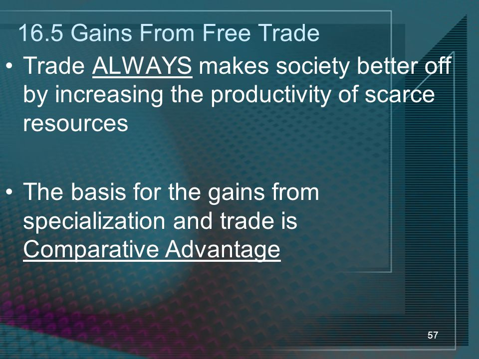 57 16.5 Gains From Free Trade Trade ALWAYS makes society better off by increasing the productivity of scarce resources The basis for the gains from specialization and trade is Comparative Advantage